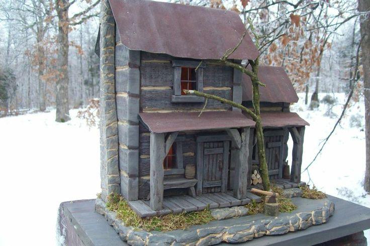 Log cabin cedar vintage folk art antique primitive hand for Primitive cabin plans
