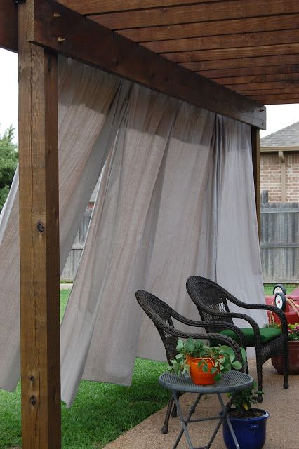 Like this pergola with curtains | Patio Ideas | Pinterest