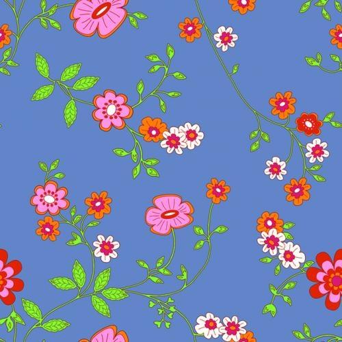 Bluuming Affairs kinderbehang bloem motief 1 blauw - FotobehangFactory