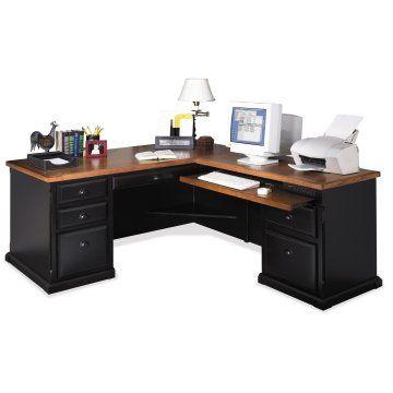 kathy ireland Home by Martin Southampton L Desk-Optional Hutch - Black