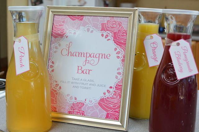 Champagne brunch bridal wedding shower party ideas for Champagne brunch bridal shower
