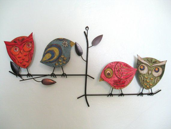 Metal Wall Decor With Birds : S mid century modern metal birds on a branch wall sculpture