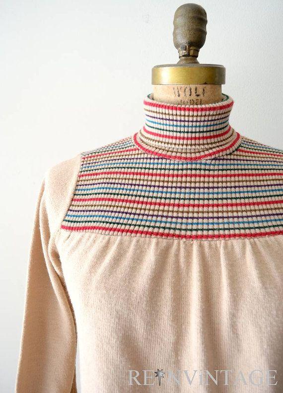 retro striped neck sweater