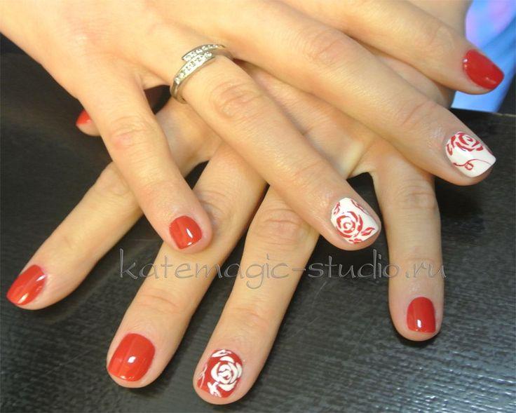 Красные и белые ногти дизайн