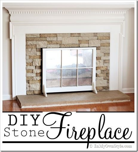 DIY Stone Fireplace With Airstone Looks Like Stone But