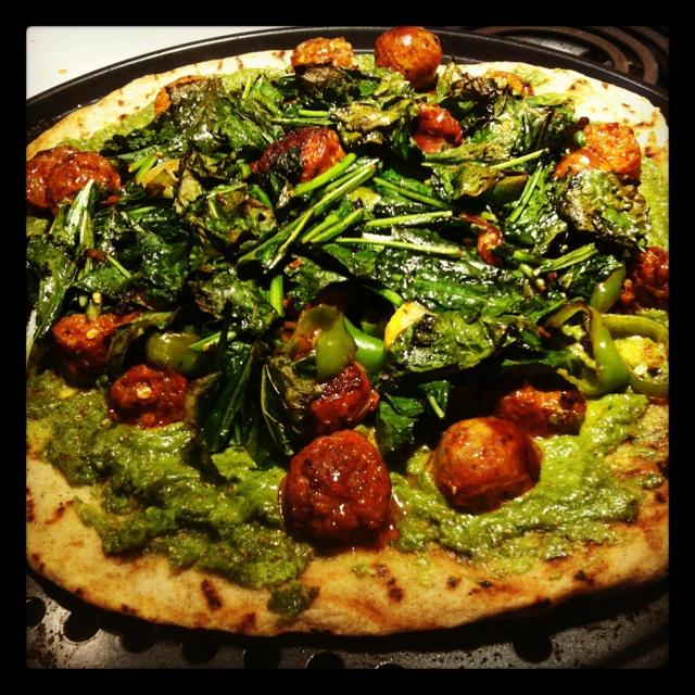 Pesto Chorizo Kale Pizza | I am GourMadame | Pinterest