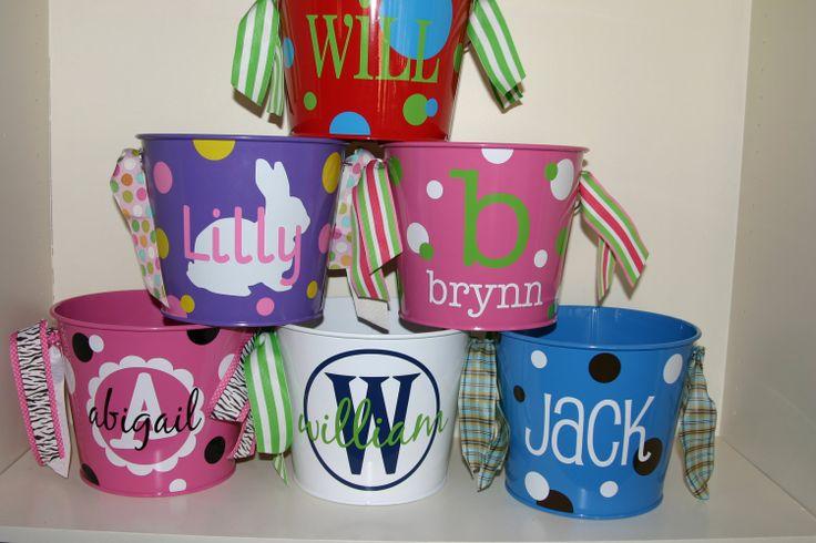 Personalized easter basket bucket 5 quart sky blue - Custom made easter baskets ...