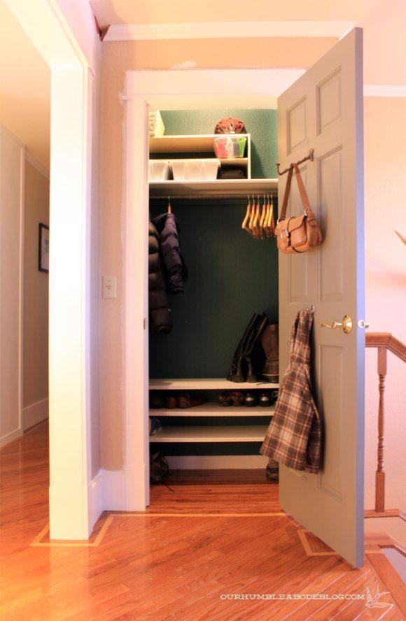 Entry Closet Diy Shoe Shelves Must Diy Pinterest