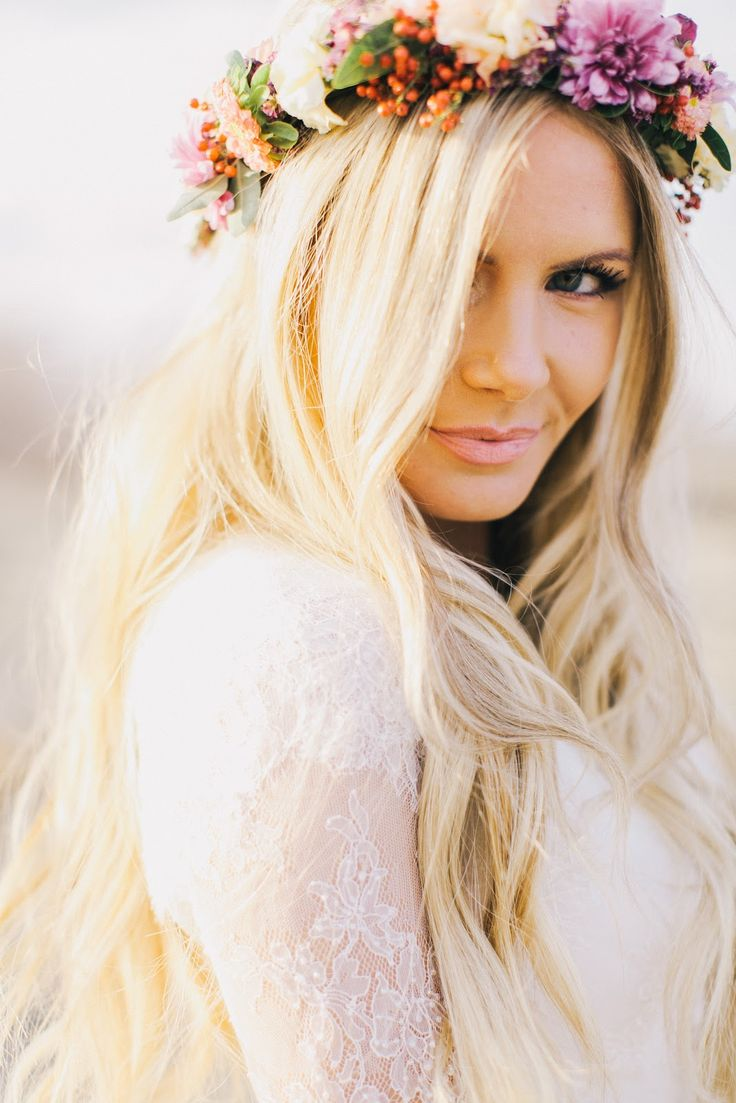Im Doing My Own Wedding Makeup : flower crown The Big Day Hair and Beauty Pinterest