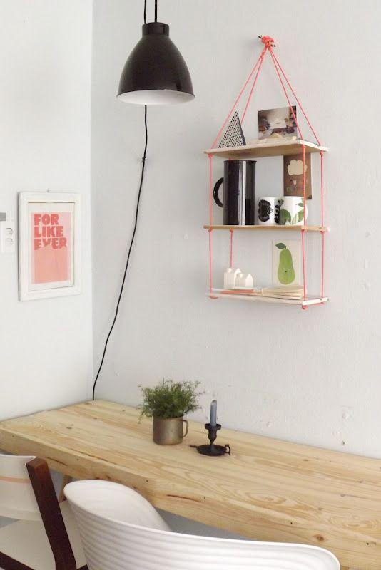 DIY hanging shelf