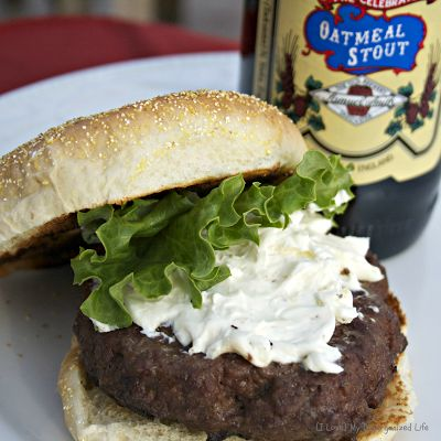 Bison Beer Burgers with Blue Cheese Garlic Spread | Recipe