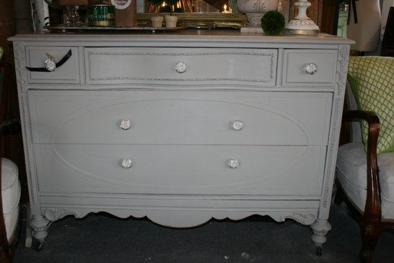 Warm Grey Chalk Painted Dresser