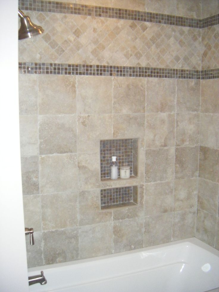 glass tile border bath pinterest