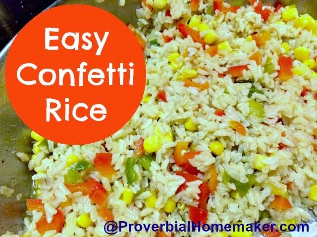Easy Confetti Rice (Hearts for Home Blog Hop) by ProverbialHomemaker ...