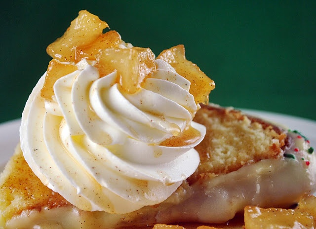 ... Vanilla Bean Cream Cheese Pound Cake with Whipped Cream and Pear