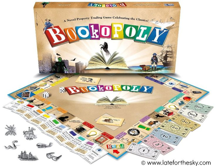 "Book-opoly Board Game © Late for the Sky Production Company. ""Book-opoly allows players a glimpse inside the many worlds of classic literature. A traditional property trading game... Interesting facts about the books and the authors are printed on the back of each property deed... Collect Bookstores and trade them in for Libraries. You may soon be elected President of the Book Club…or you may be tossed out of the game for three turns and sent to WATCH TV!"""