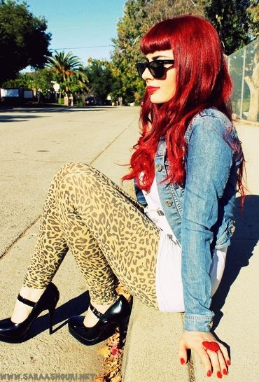 long, bright red hair with Bettie Page bangs - Love this look! i want hair this colour