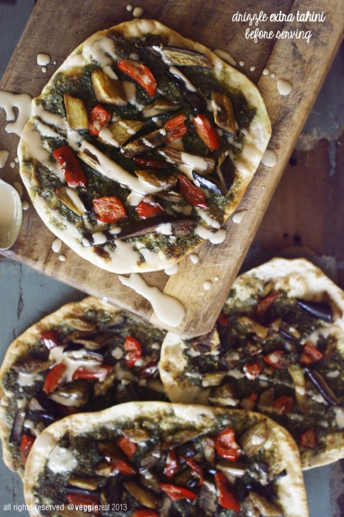 Naan Pizza with Za'atar and Eggplant. | Vegan | Pinterest