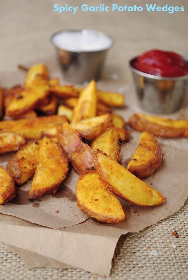 Garlic Masala Baked Potato Wedges   healthy   Pinterest
