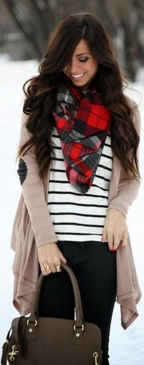 wishing for winter :: red plaid button down, jean jacket, puffy vest, chunky jeweled necklace over shirt collar