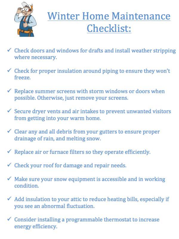 Winter Home Maintenance Checklist | printables | Pinterest
