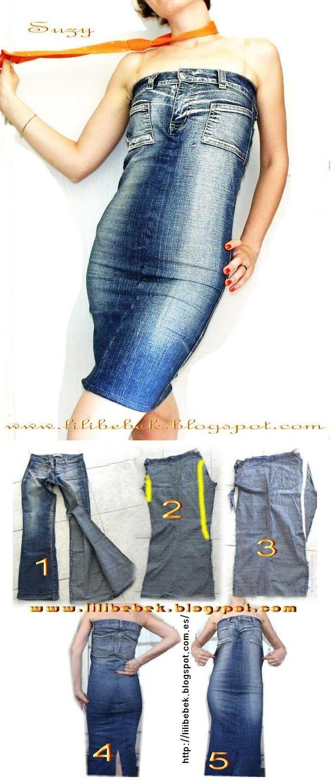 Как сшить платье из старых джинсов своими руками