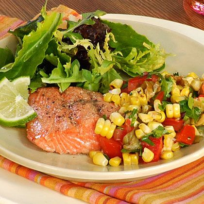 Grilled Salmon with Roasted Corn Relish | Dinner Tonight | MyRecipes ...