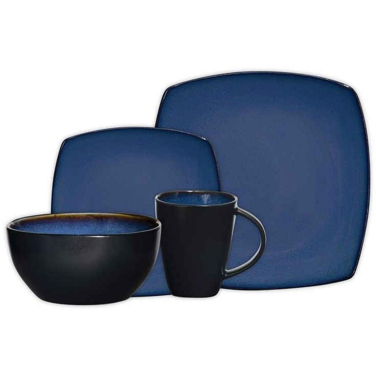 NEW Blue Black Soho Lounge Square Kitchen 16 Piece Dinner