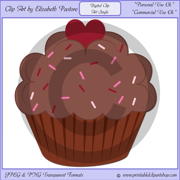This clip art single of a chocolate cupcake with ... | Clip Art Singl ...