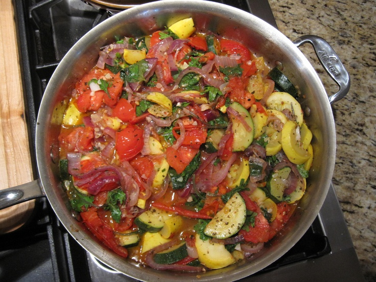 Sauteed zucchini and yellow squash with tomato, baby kale, red onion ...