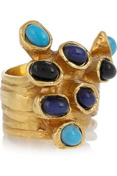 ysl gold-plated glass ring