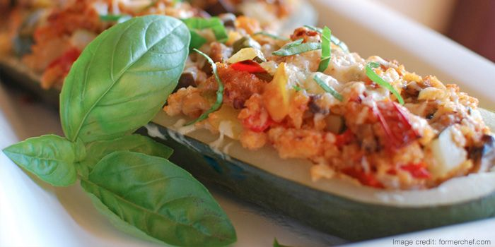 "Stuffed Zucchini with Turkey Sausage: 1 zucchini about 12"" long, or 6 ..."