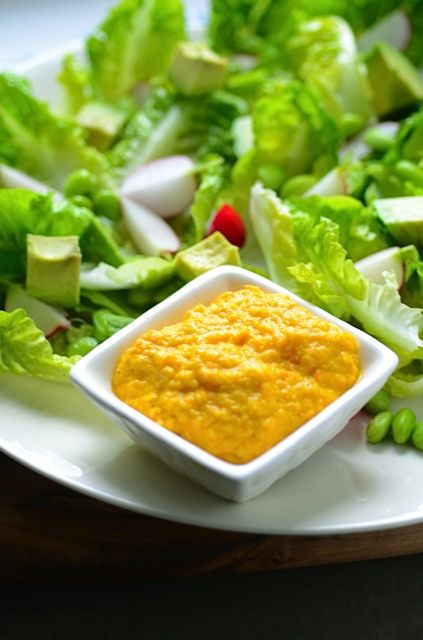 Avocado salad with carrot ginger dressing