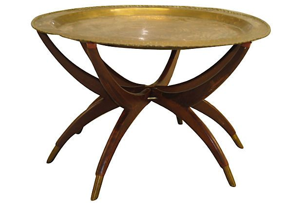Brass Tray Coffee Table On