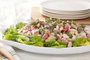 White Bean & Roasted Chicken Salad recipe. Great use for left over ...