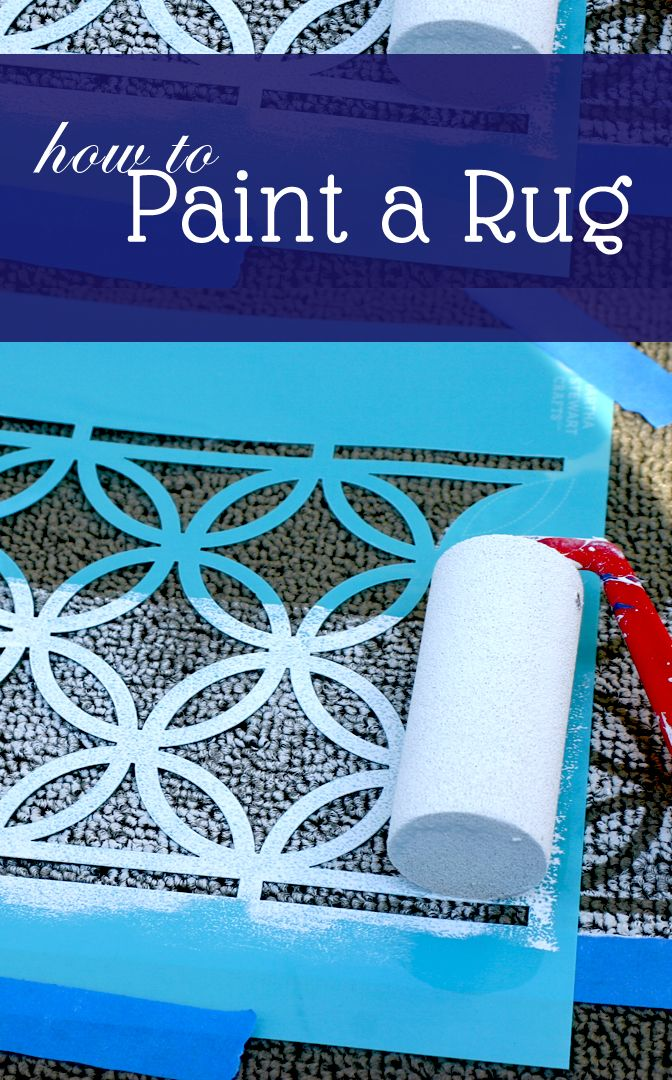 DIY How To Paint A Rug. Perfect for dorms, kid's rooms, etc. Add a design to any plain, inexpensive rug! saynotsweetanne.com #decor #rug #diy
