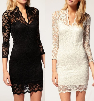 Womens vintage 80s retro 3 4 sleeve lace sexy fitted tunic dress n238