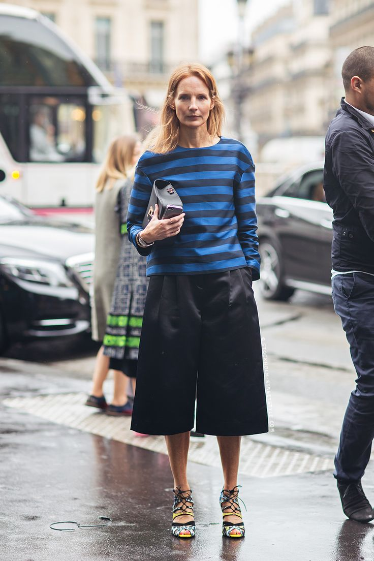 stripes & culottes. #ArabellaGreenhill in Paris.