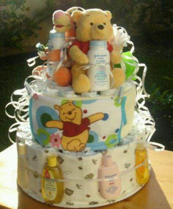 winnie the pooh diaper tower baby shower pinterest