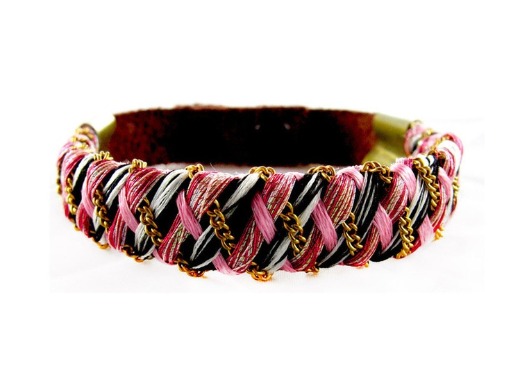 leather, thread and chain woven bracelet