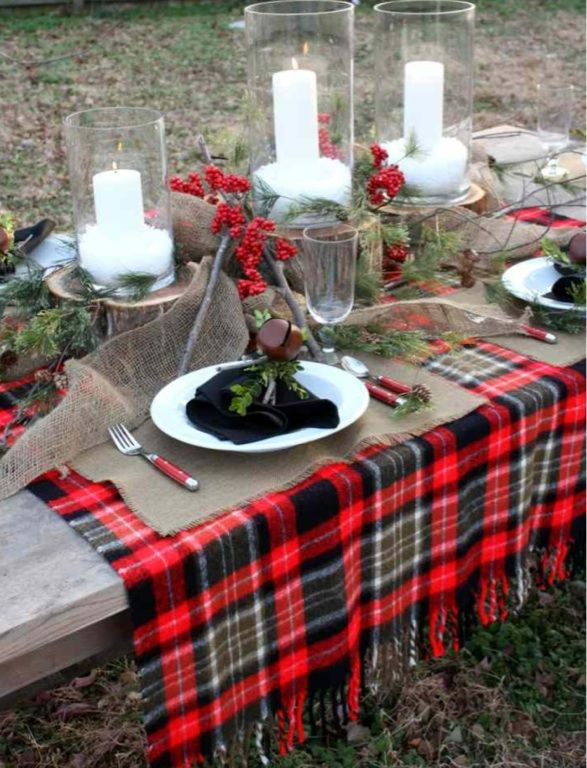 Plaid Holiday Tablescape For The Home Pinterest