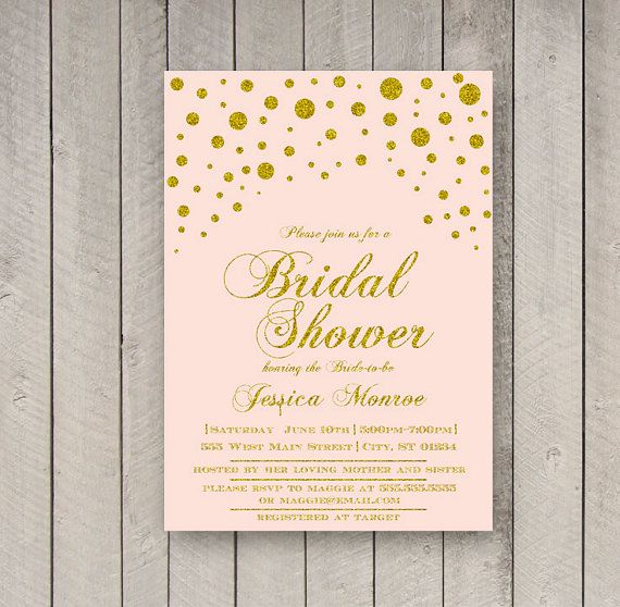 Pink and Gold Bridal Shower Invitation, White and Gold Shower Invite ...