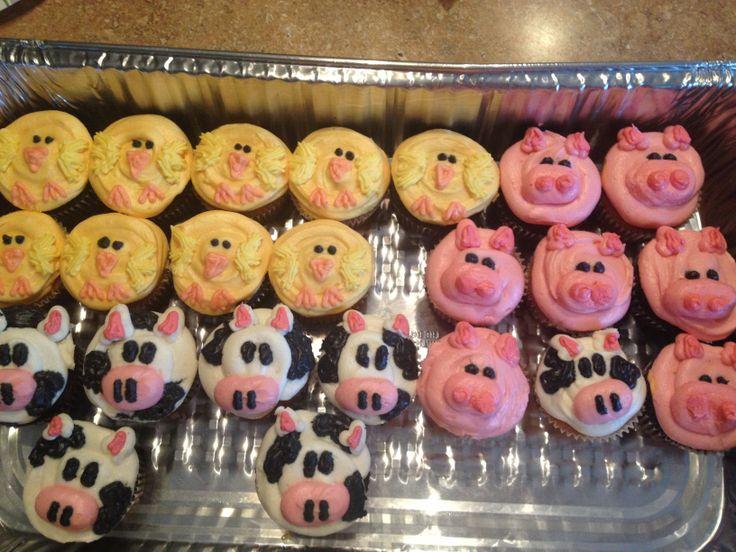 Farm animal cupcakes diy pinterest