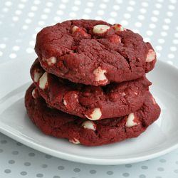 Red Velvet Cake Cookies with Decadent White Chocolate Chips