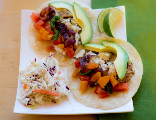 Sauteed Tilapia Tacos with peppers and onions sided with coleslaw ...