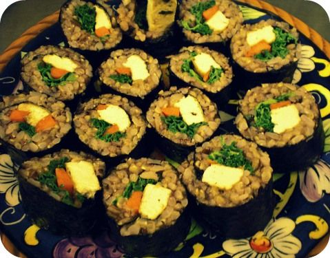 Brown Rice Sushi with Coconut-Lemongrass Tofu and Miso-Tahini Sauce