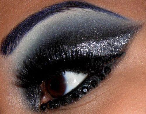 rhinestones add serious shine to this eye