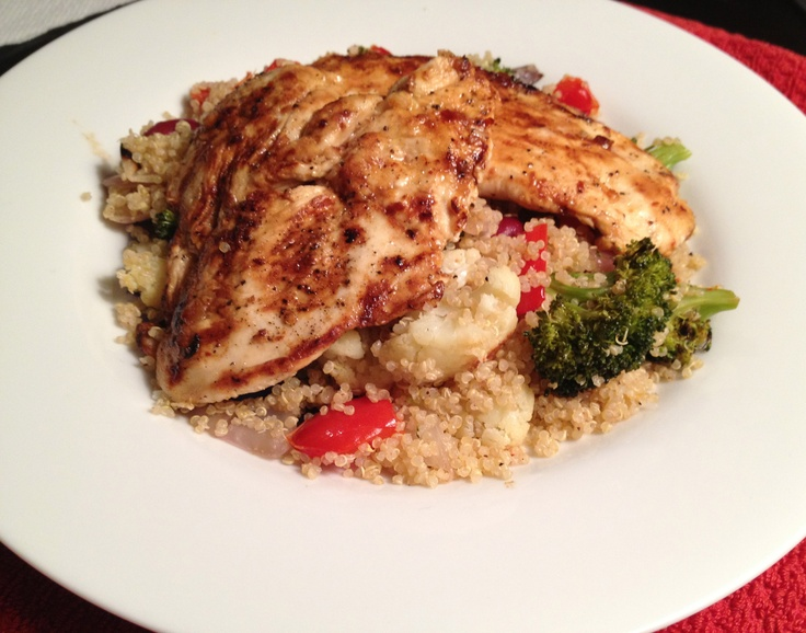 Chicken Paillard and Quinoa with Roasted Vegetables.