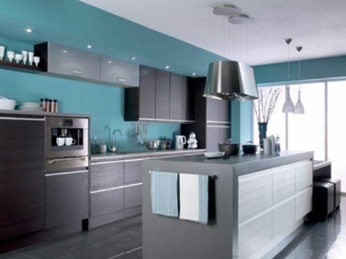 Blue and dark brown or black kitchen kitchen pinterest for Blue and brown kitchen