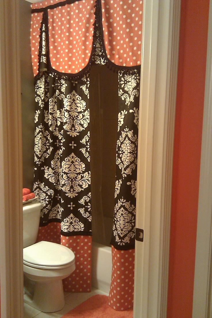 orange & black bathroom shower curtain